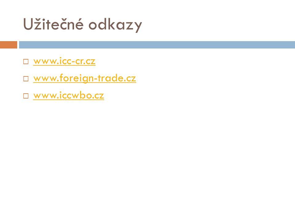Užitečné odkazy  www.icc-cr.cz www.icc-cr.cz  www.foreign-trade.cz www.foreign-trade.cz  www.iccwbo.cz www.iccwbo.cz