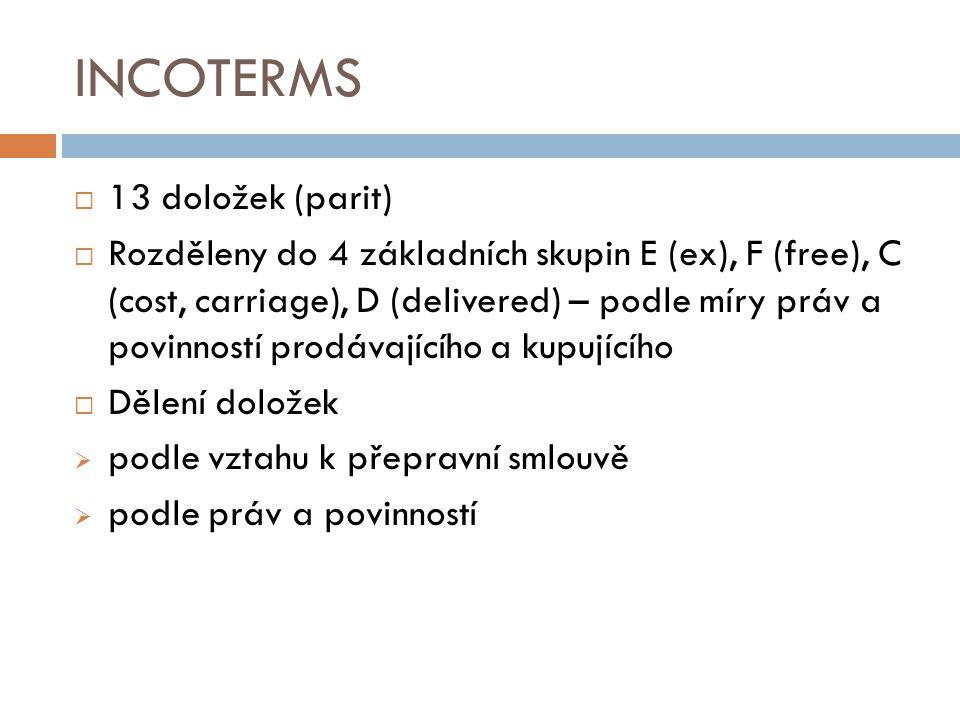 INCOTERMS  13 doložek (parit)  Rozděleny do 4 základních skupin E (ex), F (free), C (cost, carriage), D (delivered) – podle míry práv a povinností p