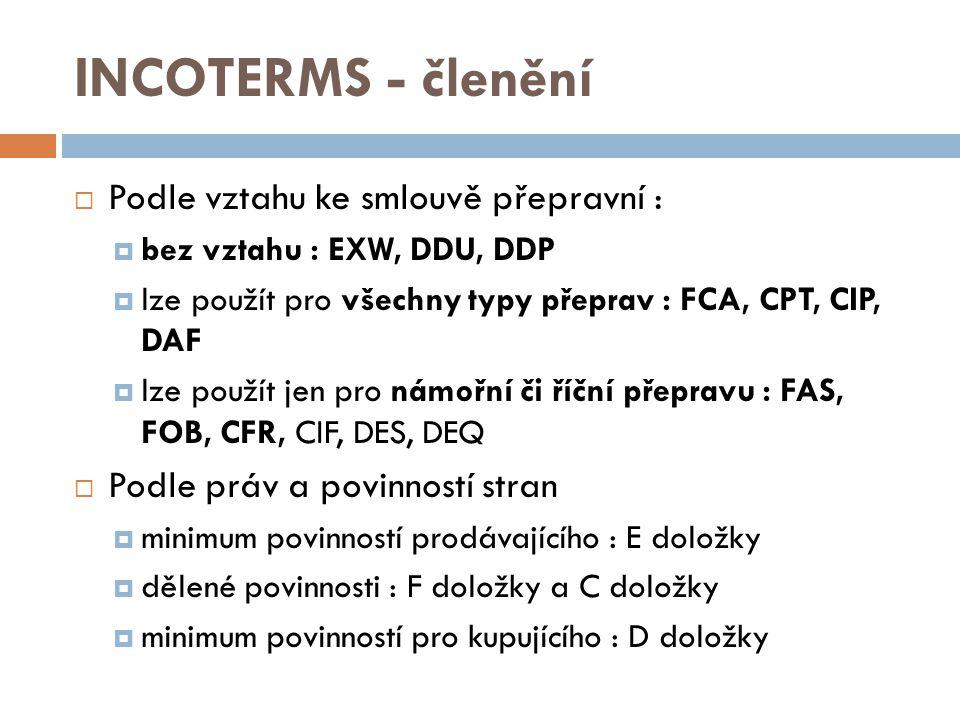 INCOTERMS - členění  Podle vztahu ke smlouvě přepravní :  bez vztahu : EXW, DDU, DDP  lze použít pro všechny typy přeprav : FCA, CPT, CIP, DAF  lz