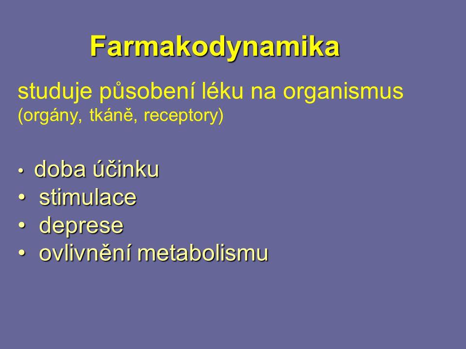 Farmakodynamika studuje působení léku na organismus (orgány, tkáně, receptory) doba účinku doba účinku stimulace stimulace deprese deprese ovlivnění metabolismu ovlivnění metabolismu