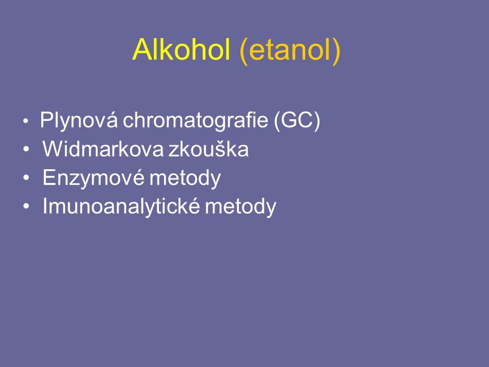 Alkohol (etanol) Plynová chromatografie (GC) Widmarkova zkouška Enzymové metody Imunoanalytické metody