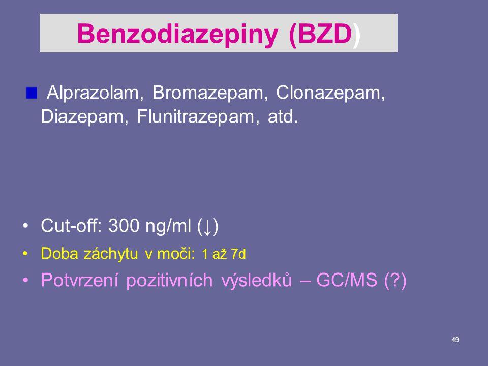 49 Alprazolam, Bromazepam, Clonazepam, Diazepam, Flunitrazepam, atd.