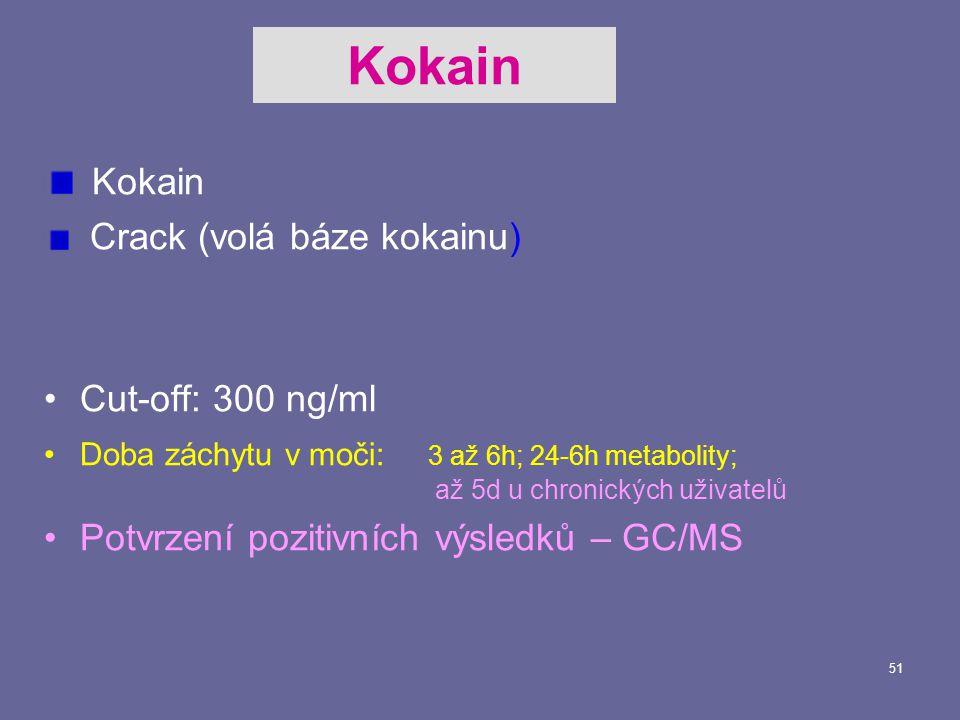 51 Kokain Crack (volá báze kokainu) Cut-off: 300 ng/ml Doba záchytu v moči: 3 až 6h; 24-6h metabolity; až 5d u chronických uživatelů Potvrzení pozitivních výsledků – GC/MS Kokain
