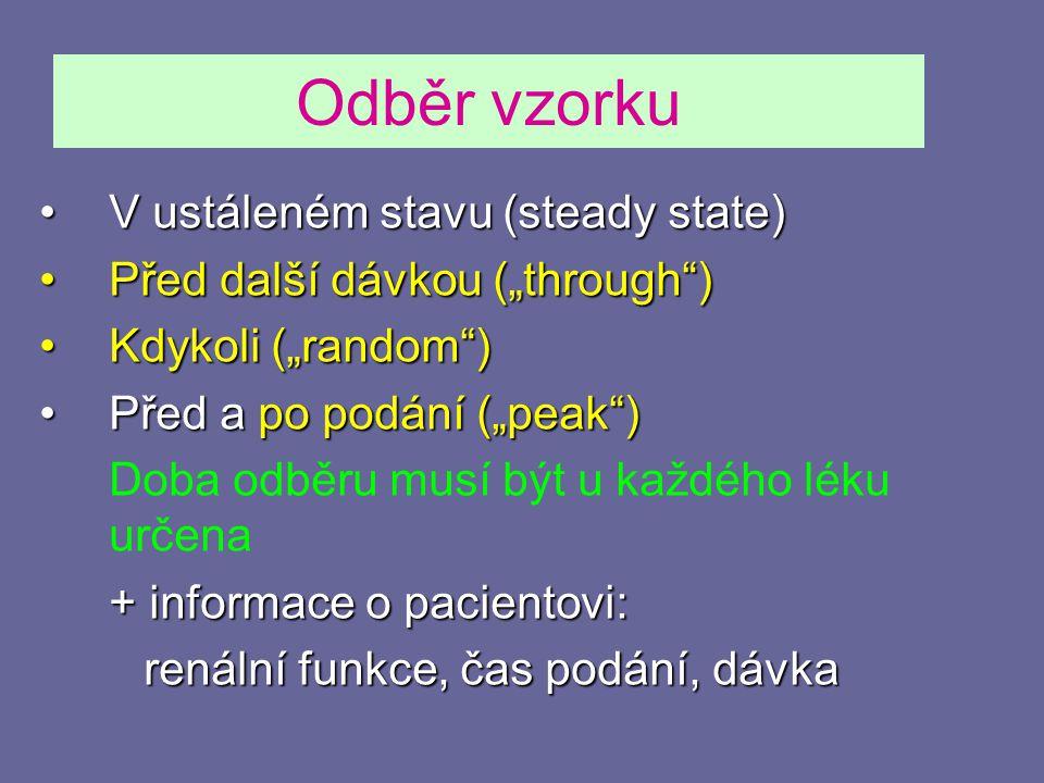 """Odběr vzorku V ustáleném stavu (steady state)V ustáleném stavu (steady state) Před další dávkou (""""through )Před další dávkou (""""through ) Kdykoli (""""random )Kdykoli (""""random ) Před a po podání (""""peak )Před a po podání (""""peak ) Doba odběru musí být u každého léku určena + informace o pacientovi: renální funkce, čas podání, dávka"""