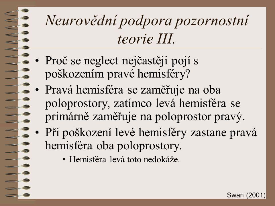 Neurovědní podpora pozornostní teorie III.