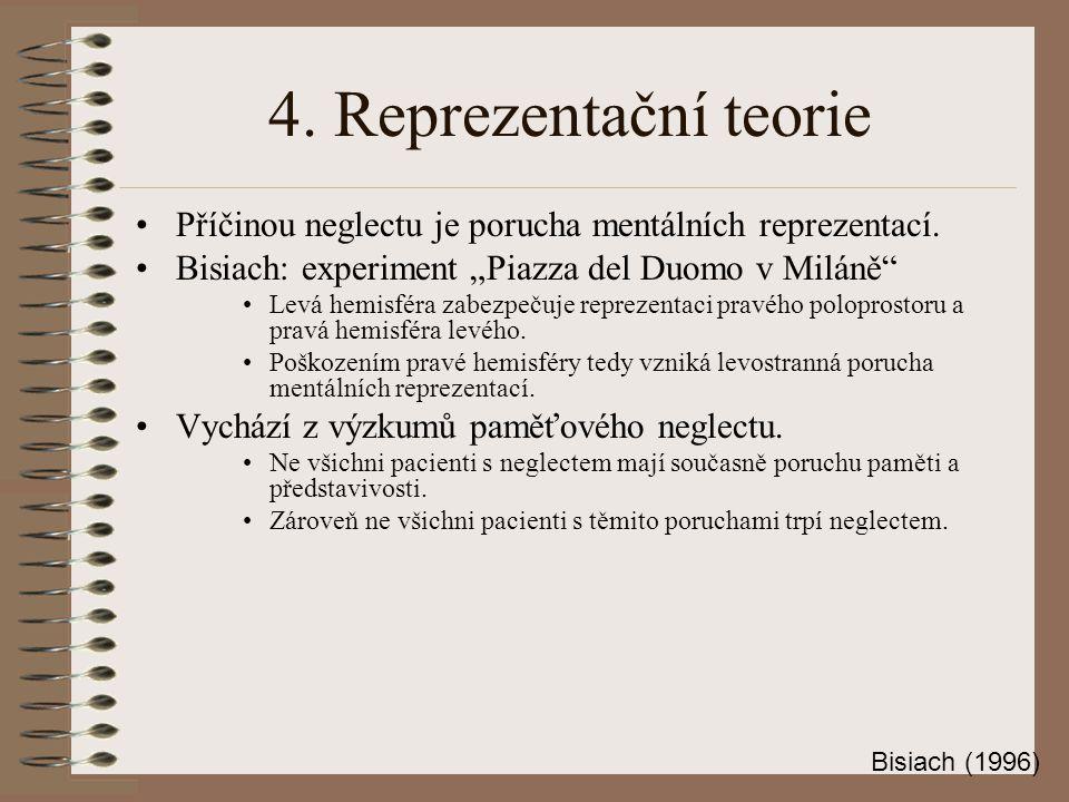4.Reprezentační teorie Příčinou neglectu je porucha mentálních reprezentací.
