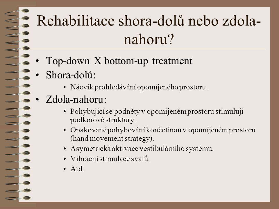Rehabilitace shora-dolů nebo zdola- nahoru.
