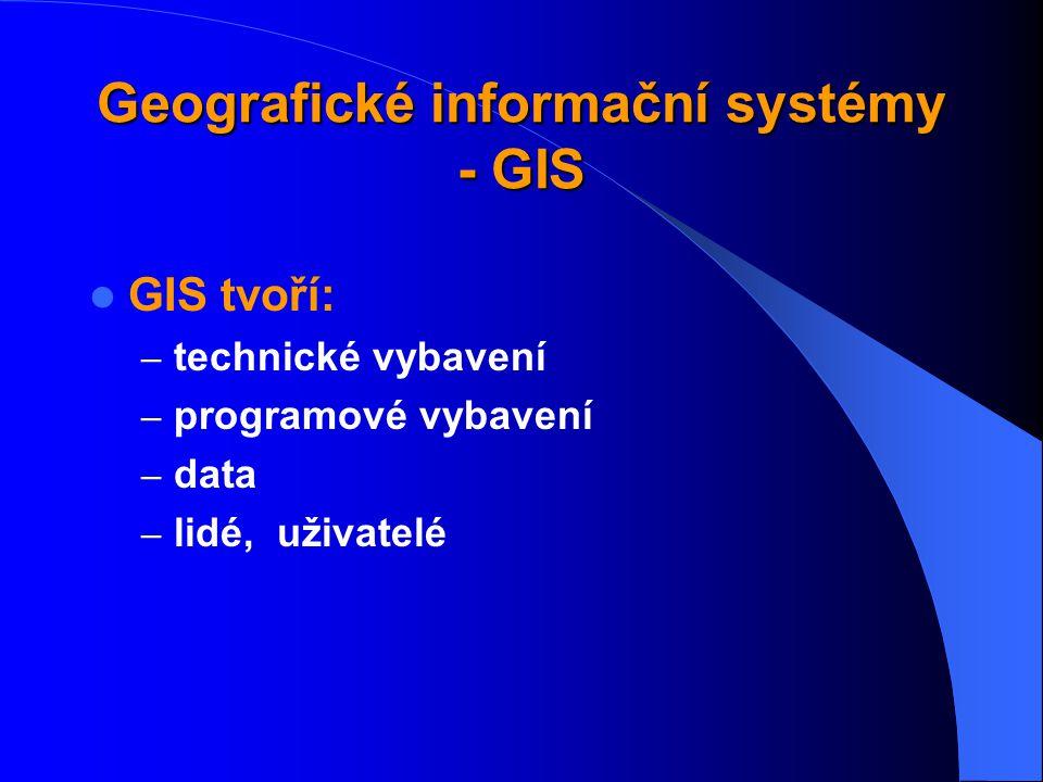 GIS - definice organizovaný, počítačově založený systém hardwaru + softwaru + geografických informací a lidí vyvinutý: ke vstupu, správě, analytickému
