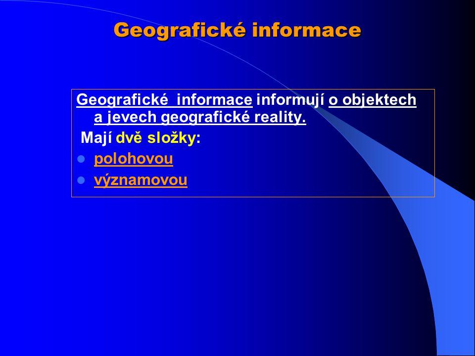 Zobecnění a specifika geografická informace Zobecnění a specifika geografická informace 1.musí být vztažena k nejméně dvěma souřadnicím 2.lze ji zobra
