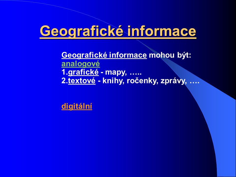Geografické informace Geografické informace informují o objektech a jevech geografické reality. Mají dvě složky: polohovou významovou