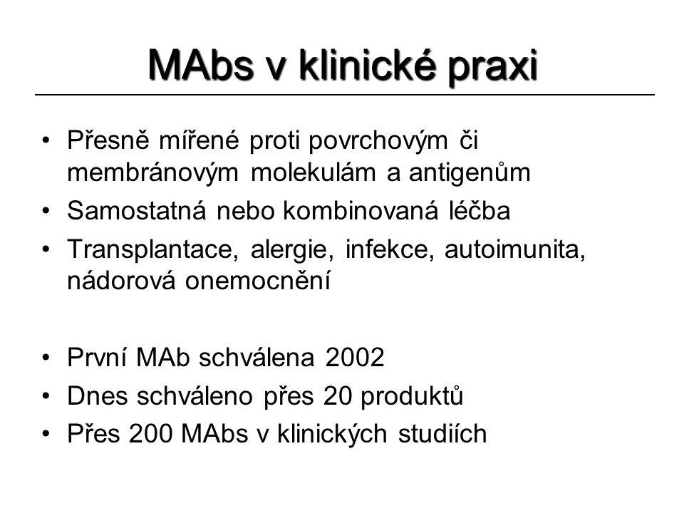 MAbs v klinické praxi Přesně mířené proti povrchovým či membránovým molekulám a antigenům Samostatná nebo kombinovaná léčba Transplantace, alergie, in