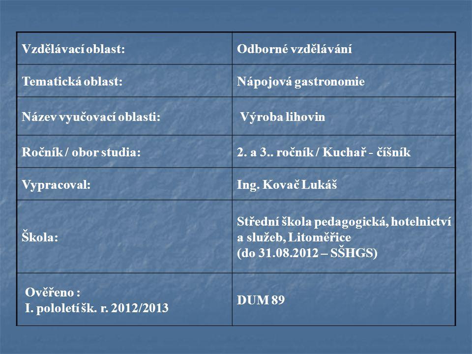 Vzdělávací oblast:Odborné vzdělávání Tematická oblast:Nápojová gastronomie Název vyučovací oblasti: Výroba lihovin Ročník / obor studia:2. a 3.. roční