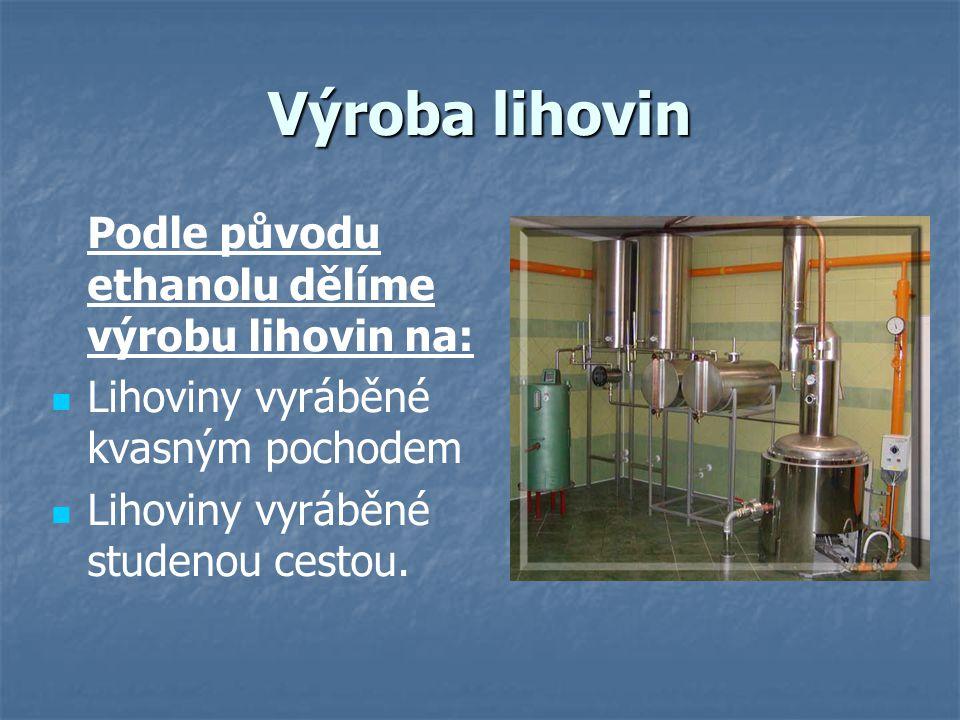 Výroba lihovin kvasnou cestou Při tomto způsobu výrobu vzniká ethanol přímo zkvašením cukernatých surovin.