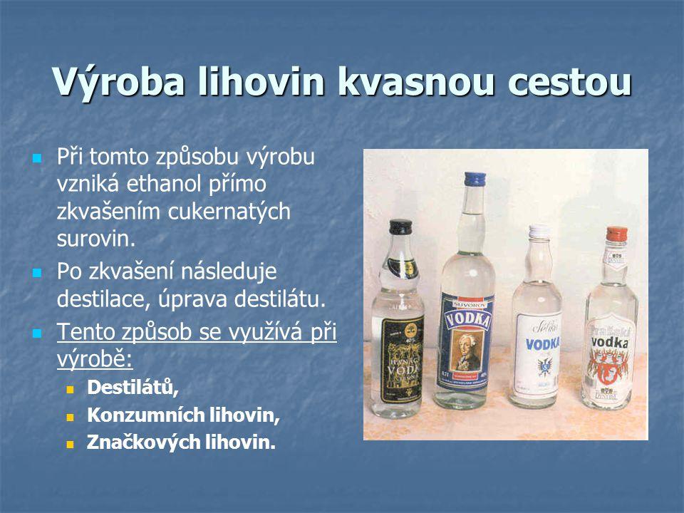 Výroba lihovin kvasnou cestou Při tomto způsobu výrobu vzniká ethanol přímo zkvašením cukernatých surovin. Po zkvašení následuje destilace, úprava des