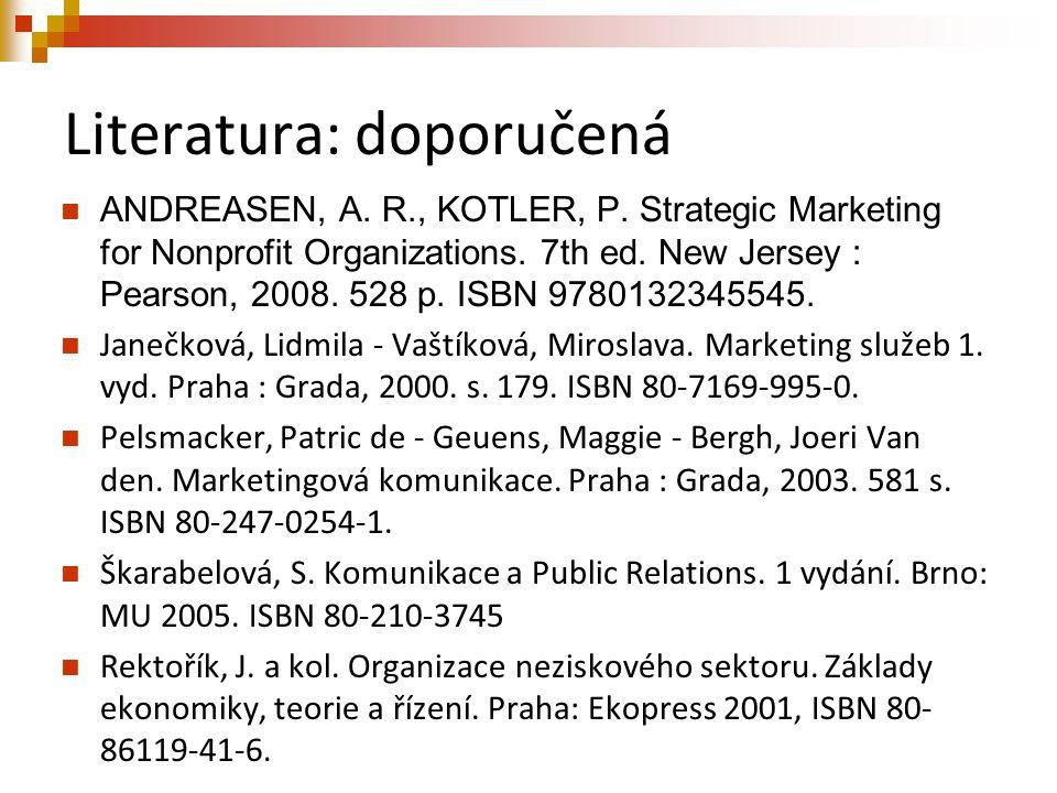 Literatura: doporučená ANDREASEN, A. R., KOTLER, P. Strategic Marketing for Nonprofit Organizations. 7th ed. New Jersey : Pearson, 2008. 528 p. ISBN 9