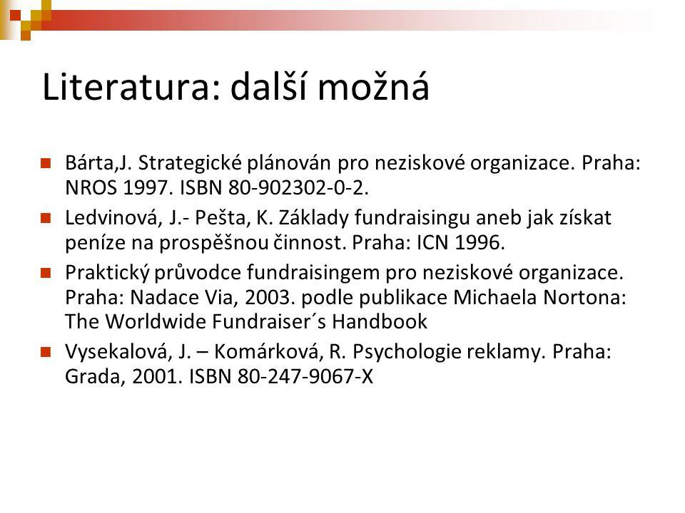 Literatura: další možná Bárta,J. Strategické plánován pro neziskové organizace. Praha: NROS 1997. ISBN 80-902302-0-2. Ledvinová, J.- Pešta, K. Základy