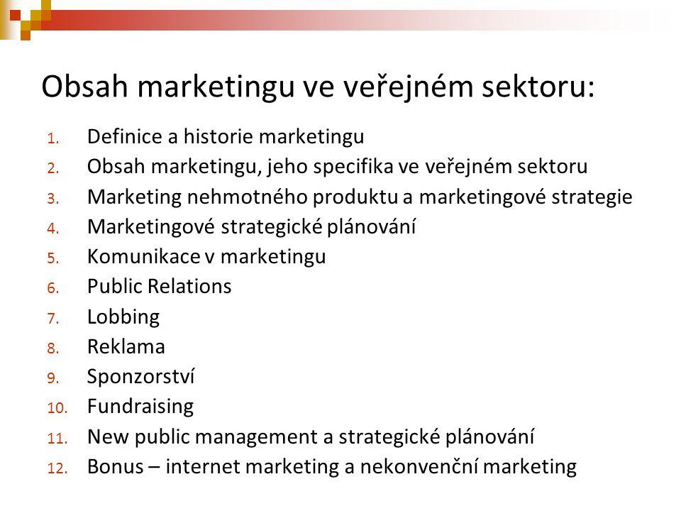 Obsah marketingu ve veřejném sektoru: 1. Definice a historie marketingu 2. Obsah marketingu, jeho specifika ve veřejném sektoru 3. Marketing nehmotnéh