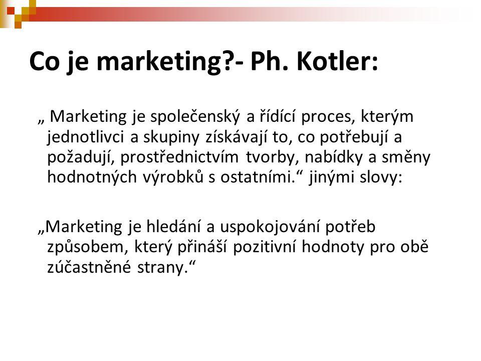 """Co je marketing?- Ph. Kotler: """" Marketing je společenský a řídící proces, kterým jednotlivci a skupiny získávají to, co potřebují a požadují, prostřed"""