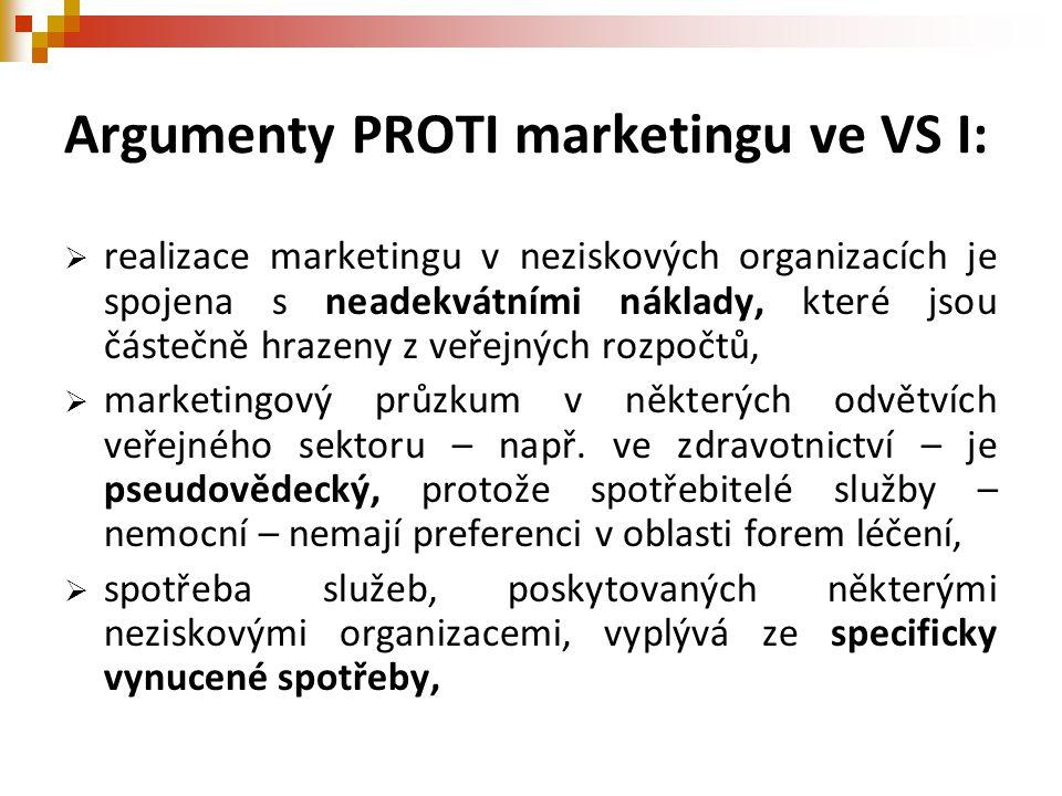 Argumenty PROTI marketingu ve VS I:  realizace marketingu v neziskových organizacích je spojena s neadekvátními náklady, které jsou částečně hrazeny z veřejných rozpočtů,  marketingový průzkum v některých odvětvích veřejného sektoru – např.
