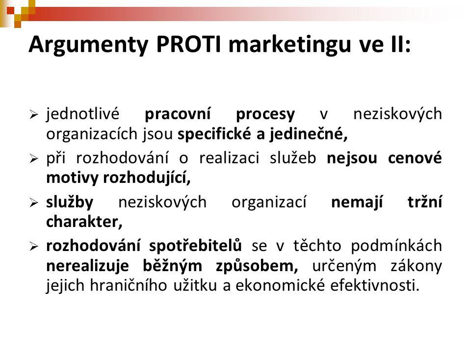 Argumenty PROTI marketingu ve II:  jednotlivé pracovní procesy v neziskových organizacích jsou specifické a jedinečné,  při rozhodování o realizaci