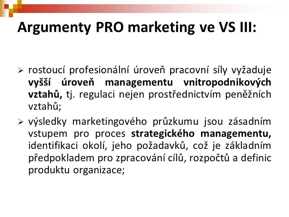 Argumenty PRO marketing ve VS III:  rostoucí profesionální úroveň pracovní síly vyžaduje vyšší úroveň managementu vnitropodnikových vztahů, tj. regul