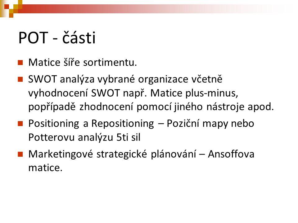 POT - části Matice šíře sortimentu. SWOT analýza vybrané organizace včetně vyhodnocení SWOT např. Matice plus-minus, popřípadě zhodnocení pomocí jinéh