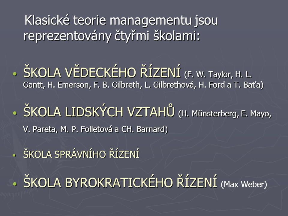 Klasické teorie managementu jsou reprezentovány čtyřmi školami: Klasické teorie managementu jsou reprezentovány čtyřmi školami: ŠKOLA VĚDECKÉHO ŘÍZENÍ