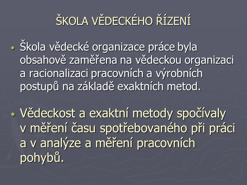 ŠKOLA VĚDECKÉHO ŘÍZENÍ Škola vědecké organizace práce byla obsahově zaměřena na vědeckou organizaci a racionalizaci pracovních a výrobních postupů na
