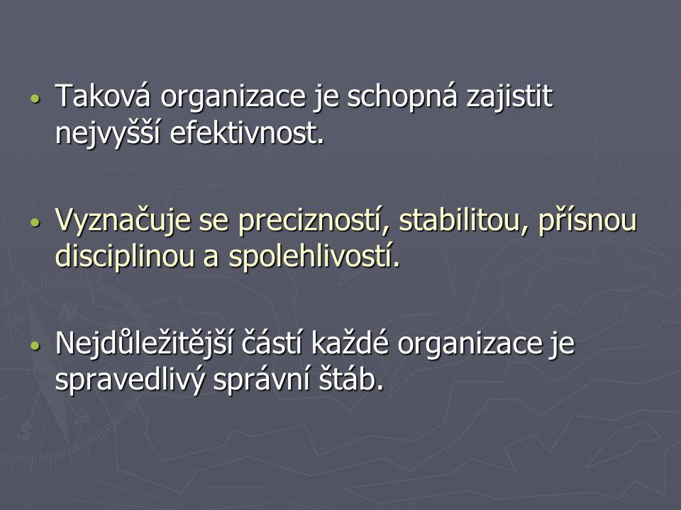 Taková organizace je schopná zajistit nejvyšší efektivnost. Taková organizace je schopná zajistit nejvyšší efektivnost. Vyznačuje se precizností, stab