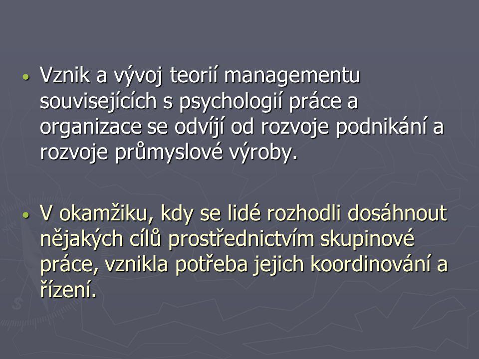 Vznik a vývoj teorií managementu souvisejících s psychologií práce a organizace se odvíjí od rozvoje podnikání a rozvoje průmyslové výroby. Vznik a vý