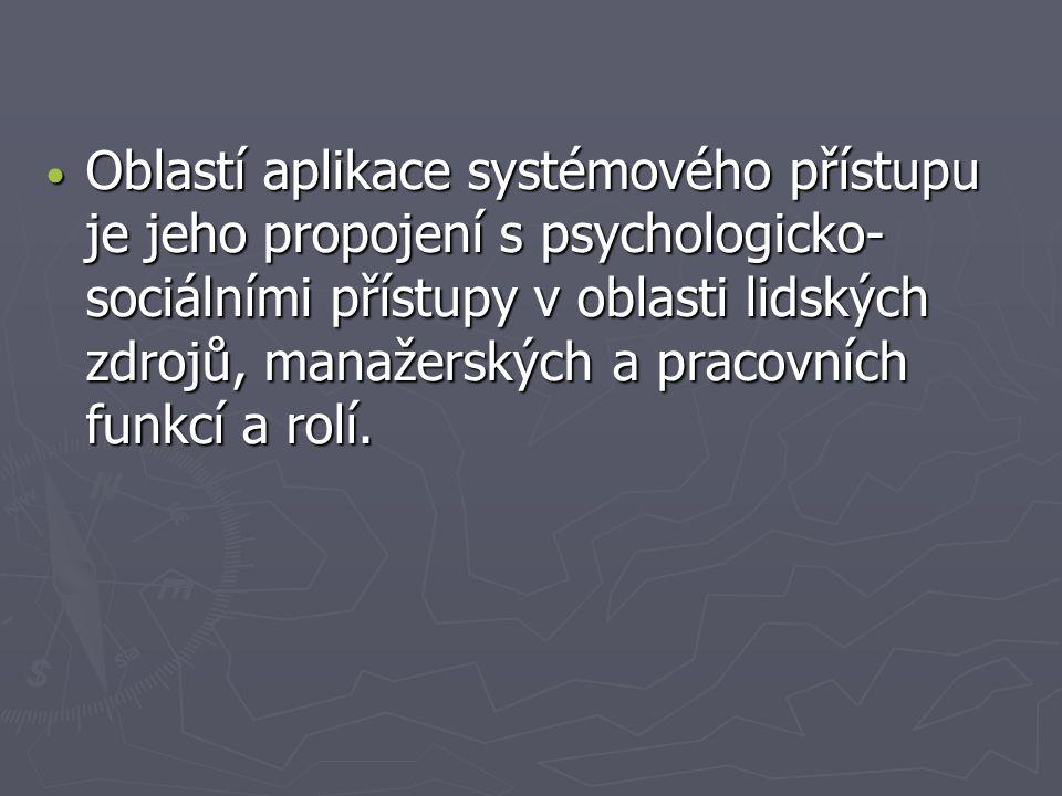 Oblastí aplikace systémového přístupu je jeho propojení s psychologicko- sociálními přístupy v oblasti lidských zdrojů, manažerských a pracovních funk