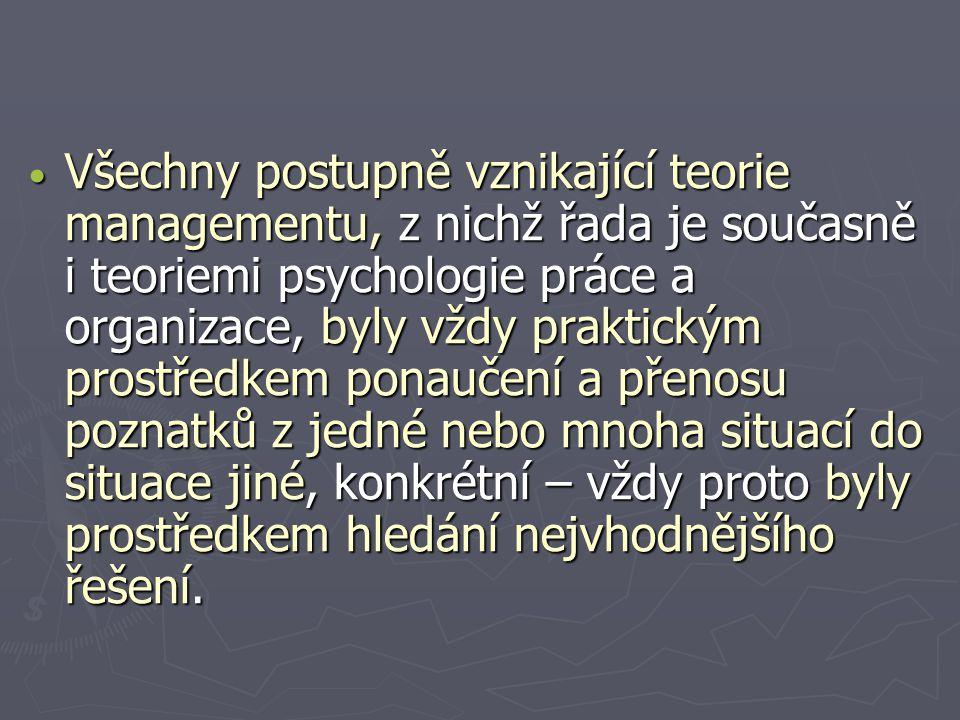 Všechny postupně vznikající teorie managementu, z nichž řada je současně i teoriemi psychologie práce a organizace, byly vždy praktickým prostředkem p
