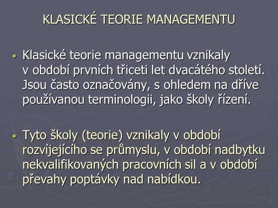 KLASICKÉ TEORIE MANAGEMENTU Klasické teorie managementu vznikaly v období prvních třiceti let dvacátého století. Jsou často označovány, s ohledem na d