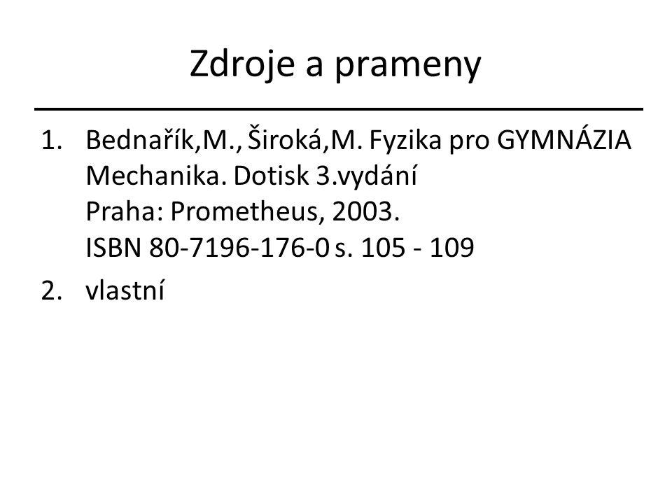 Zdroje a prameny 1.Bednařík,M., Široká,M. Fyzika pro GYMNÁZIA Mechanika.