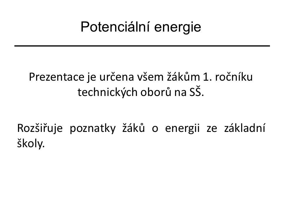 Potenciální energie Prezentace je určena všem žákům 1. ročníku technických oborů na SŠ. Rozšiřuje poznatky žáků o energii ze základní školy.