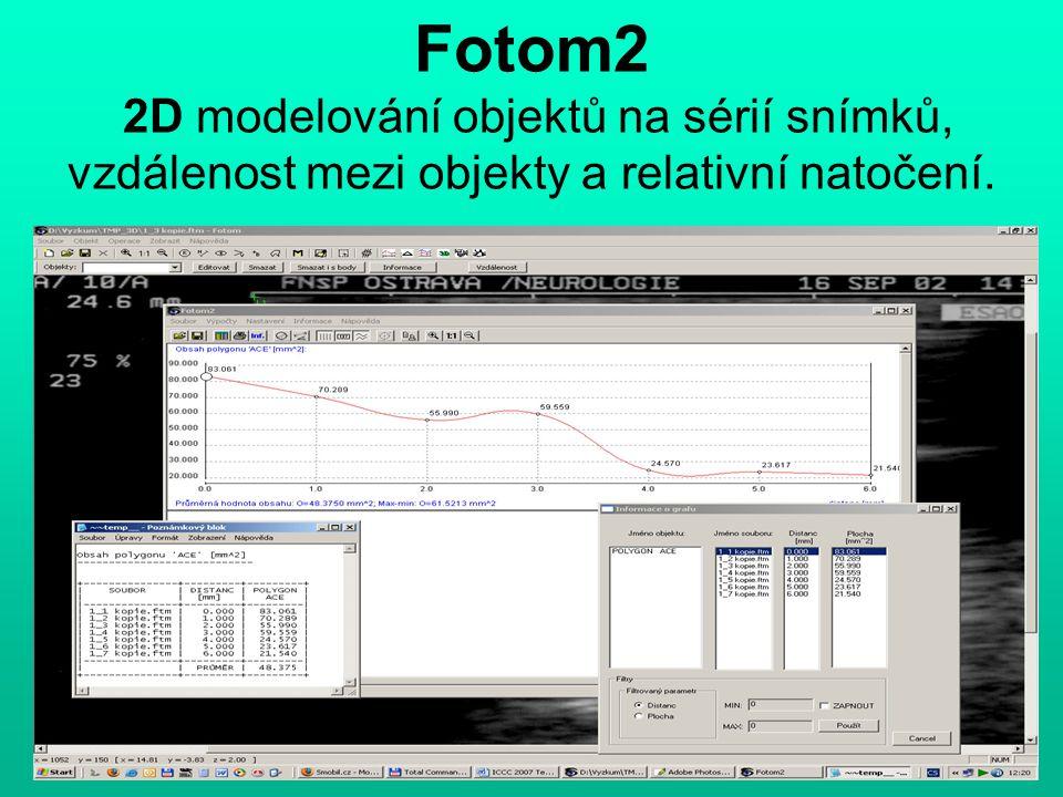Fotom2 2D modelování objektů na sérií snímků, vzdálenost mezi objekty a relativní natočení.
