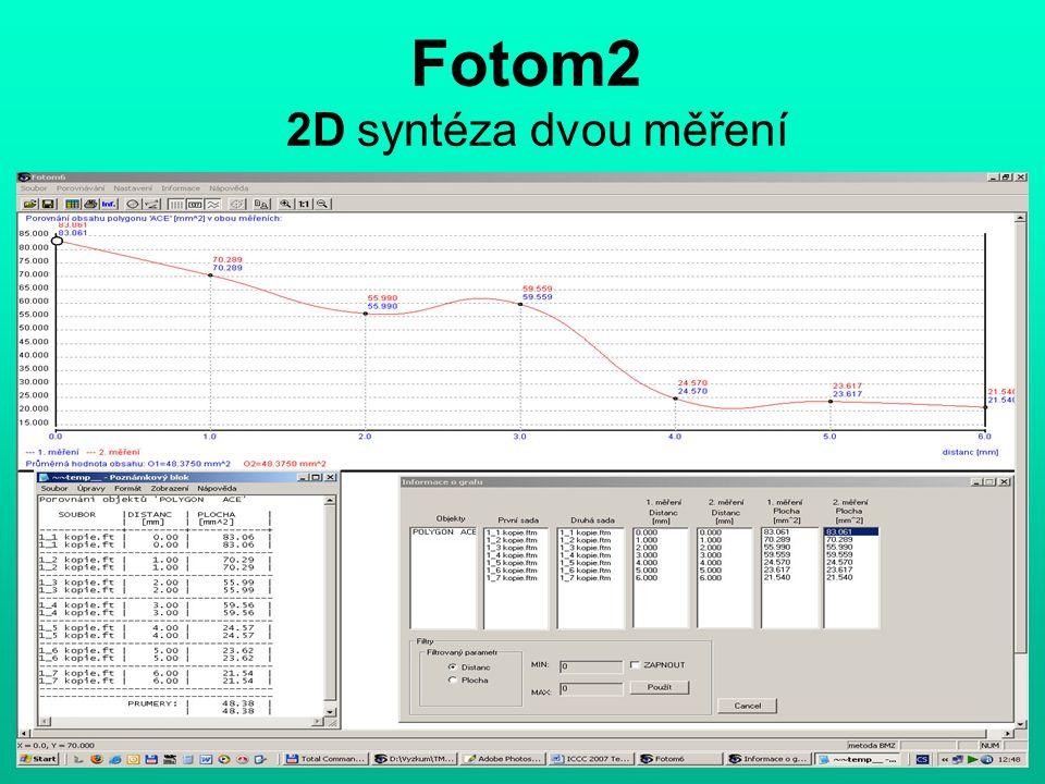 Fotom2 2D syntéza dvou měření