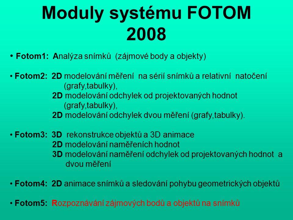 Moduly systému FOTOM 2008 Fotom1: Analýza snímků (zájmové body a objekty) Fotom2: 2D modelování měření na sérií snímků a relativní natočení (grafy,tabulky), 2D modelování odchylek od projektovaných hodnot (grafy,tabulky), 2D modelování odchylek dvou měření (grafy,tabulky).