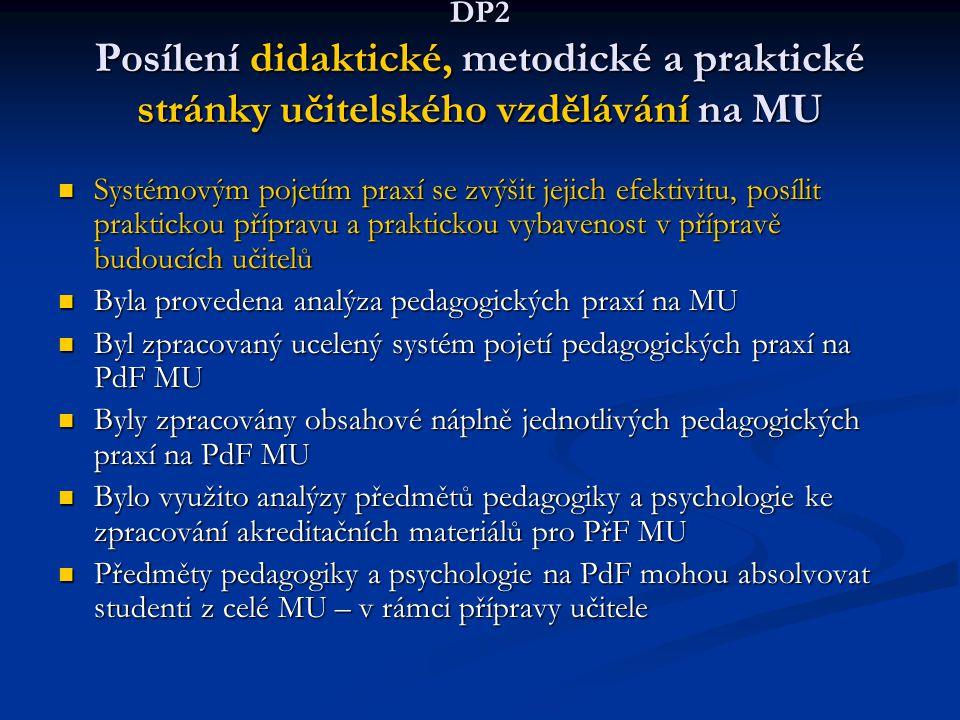 DP2 Posílení didaktické, metodické a praktické stránky učitelského vzdělávání na MU Systémovým pojetím praxí se zvýšit jejich efektivitu, posílit prak