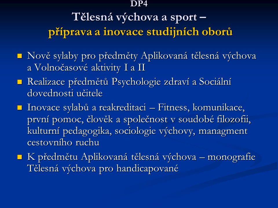 DP4 Tělesná výchova a sport – příprava a inovace studijních oborů Nově sylaby pro předměty Aplikovaná tělesná výchova a Volnočasové aktivity I a II No