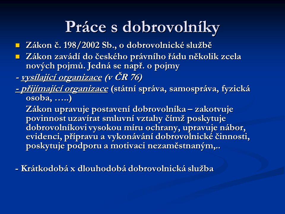 Práce s dobrovolníky Zákon č. 198/2002 Sb., o dobrovolnické službě Zákon č.