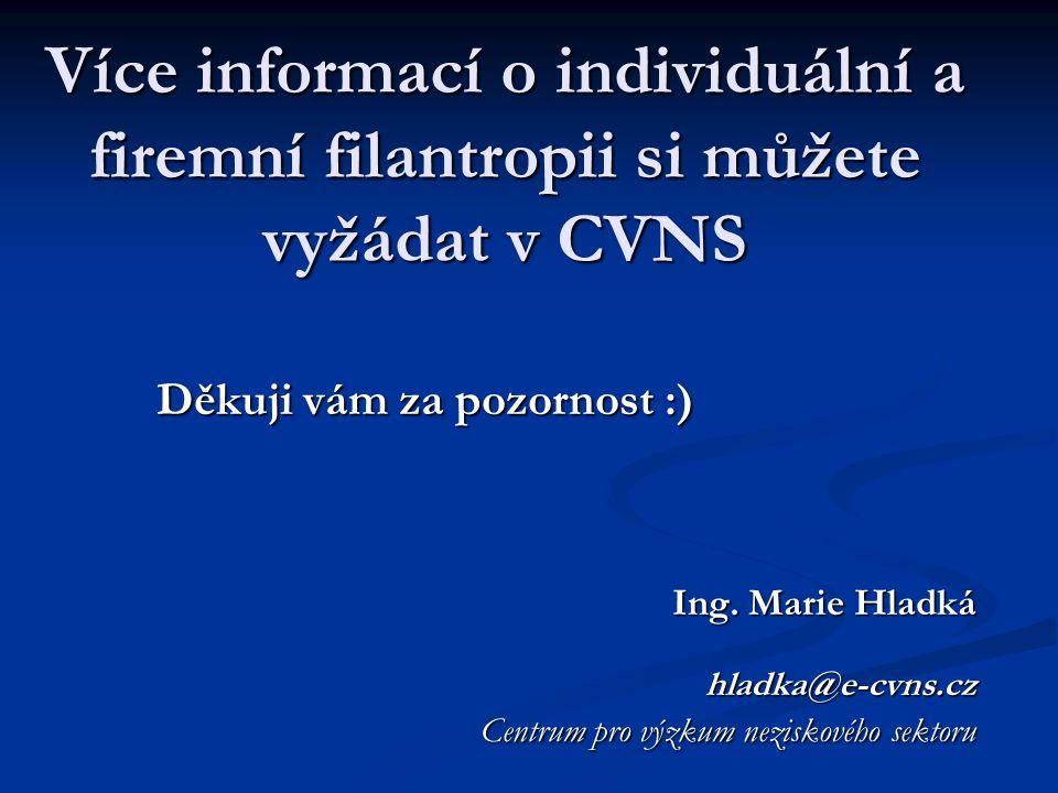 Více informací o individuální a firemní filantropii si můžete vyžádat v CVNS Děkuji vám za pozornost :) Ing. Marie Hladká hladka@e-cvns.cz Centrum pro
