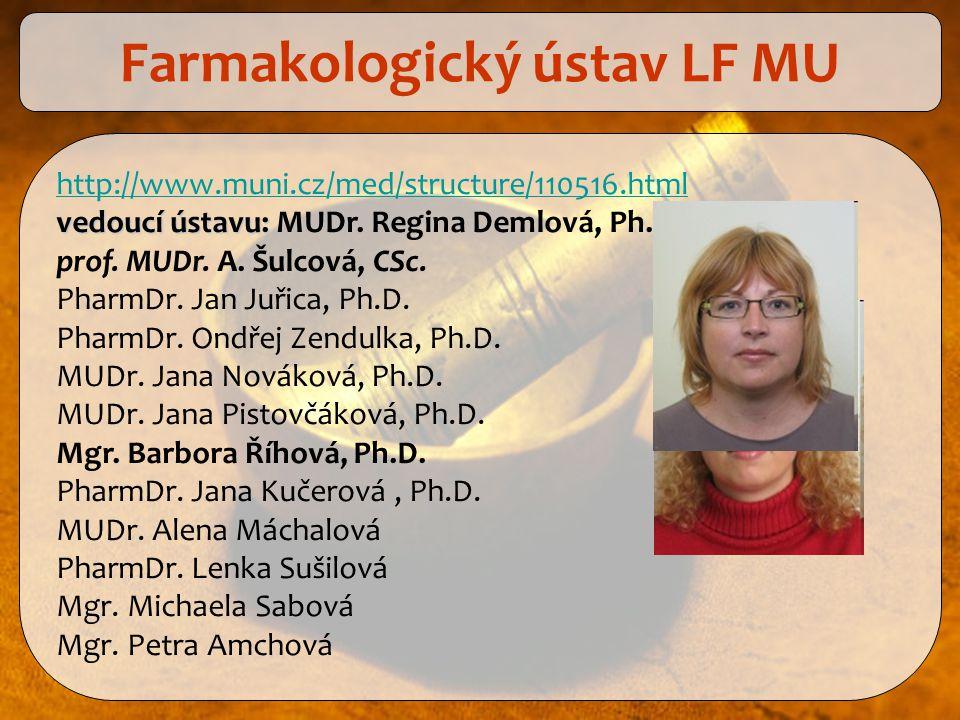 http://www.muni.cz/med/structure/110516.html vedoucí ústavu: vedoucí ústavu: MUDr. Regina Demlová, Ph.D. prof. MUDr. A. Šulcová, CSc. PharmDr. Jan Juř