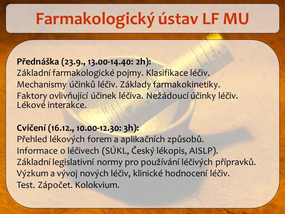Přednáška (23.9., 13.00-14.40: 2h): Základní farmakologické pojmy. Klasifikace léčiv. Mechanismy účinků léčiv. Základy farmakokinetiky. Faktory ovlivň