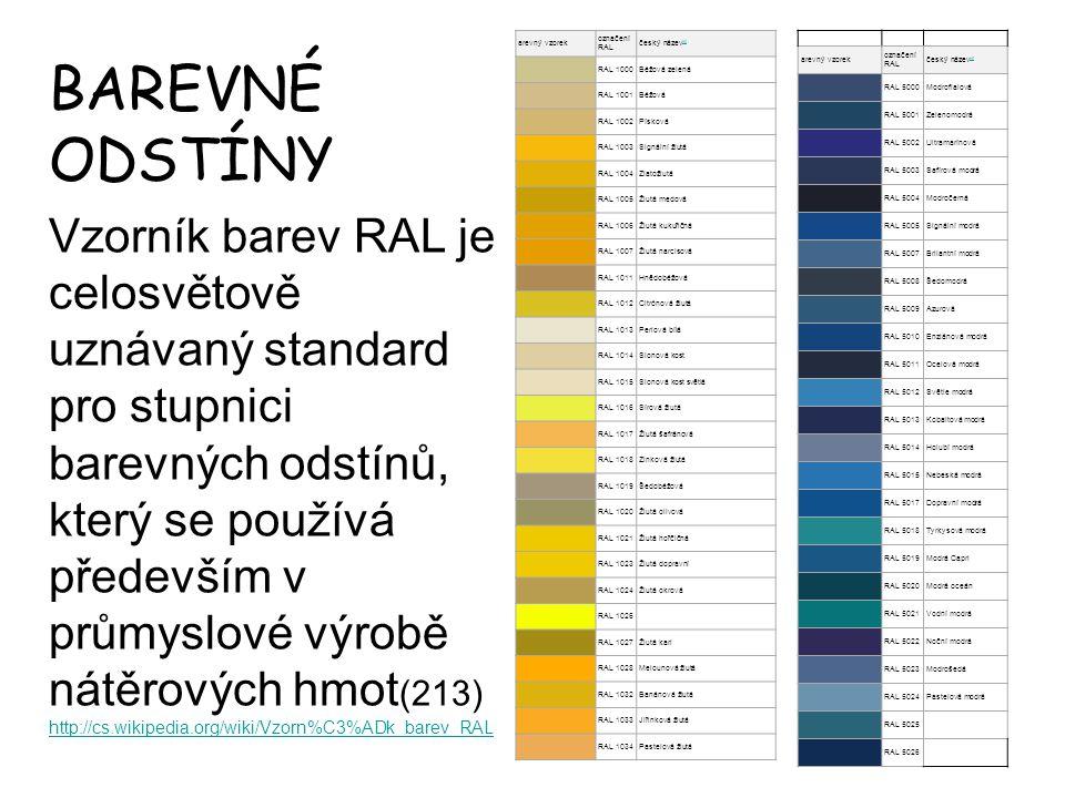BAREVNÉ ODSTÍNY Vzorník barev RAL je celosvětově uznávaný standard pro stupnici barevných odstínů, který se používá především v průmyslové výrobě nátě