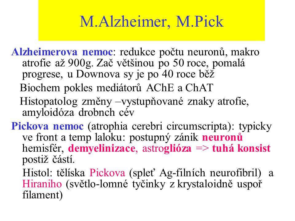 M.Alzheimer, M.Pick Alzheimerova nemoc: redukce počtu neuronů, makro atrofie až 900g. Zač většinou po 50 roce, pomalá progrese, u Downova sy je po 40