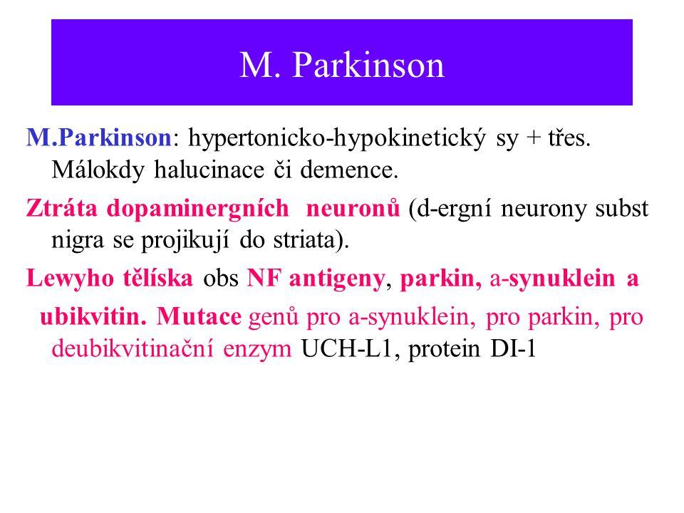 M. Parkinson M.Parkinson: hypertonicko-hypokinetický sy + třes. Málokdy halucinace či demence. Ztráta dopaminergních neuronů (d-ergní neurony subst ni