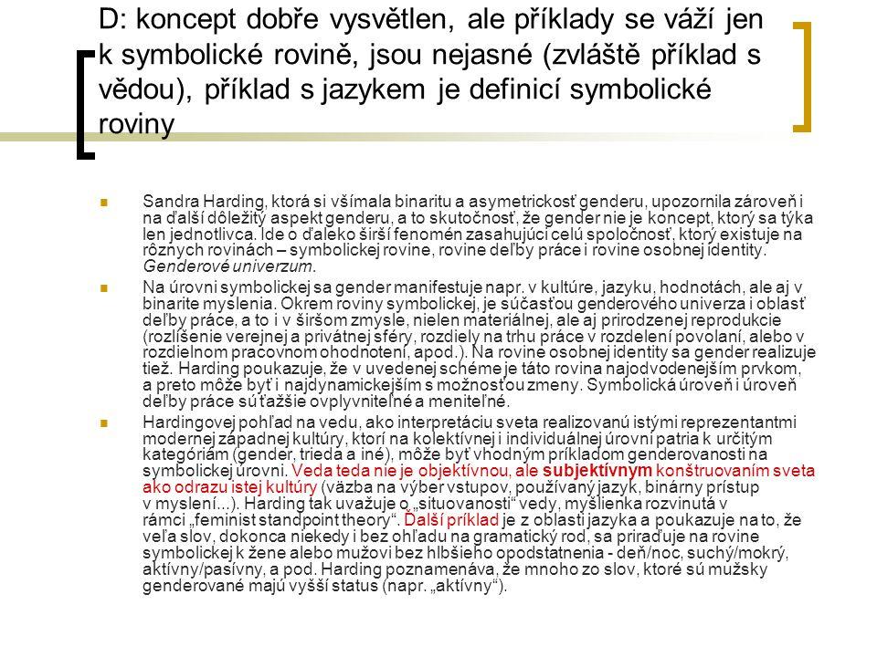 D: koncept dobře vysvětlen, ale příklady se váží jen k symbolické rovině, jsou nejasné (zvláště příklad s vědou), příklad s jazykem je definicí symbol
