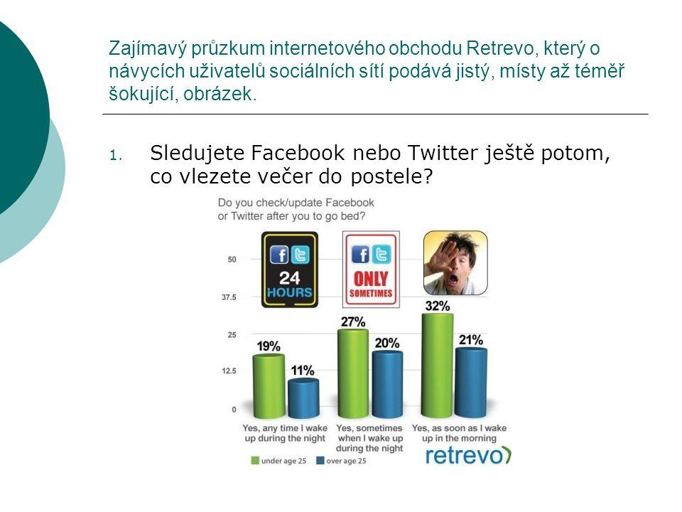 Zajímavý průzkum internetového obchodu Retrevo, který o návycích uživatelů sociálních sítí podává jistý, místy až téměř šokující, obrázek. 1. Sledujet