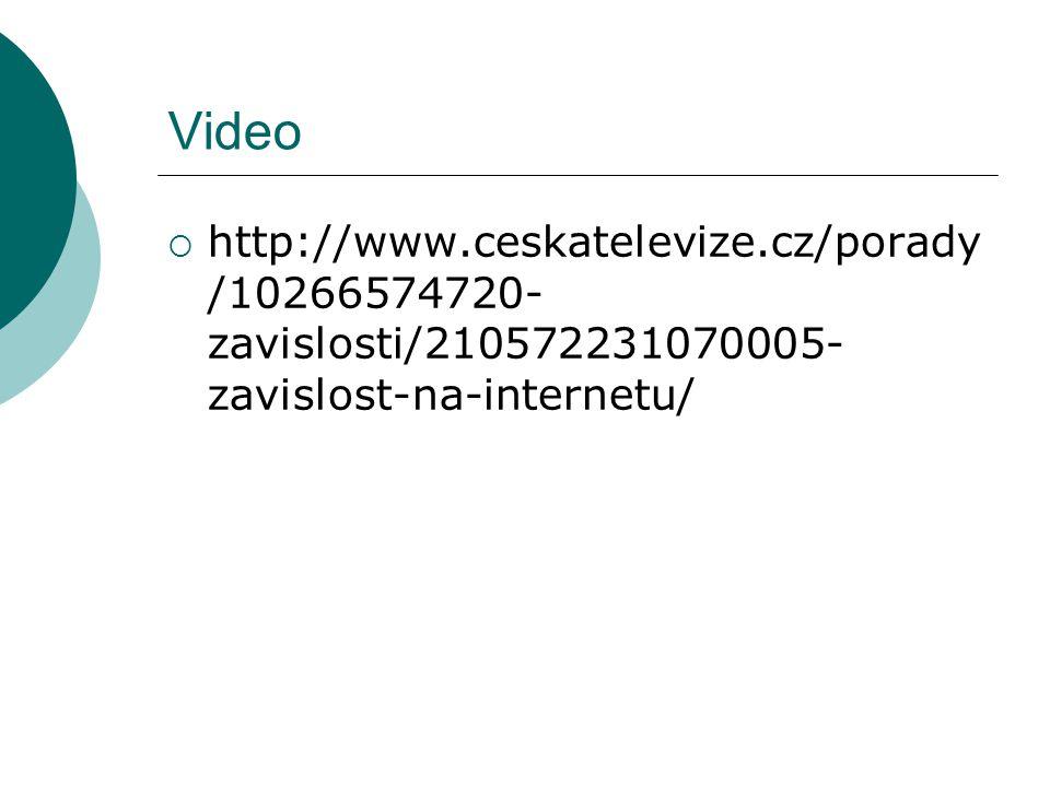 Video  http://www.ceskatelevize.cz/porady /10266574720- zavislosti/210572231070005- zavislost-na-internetu/